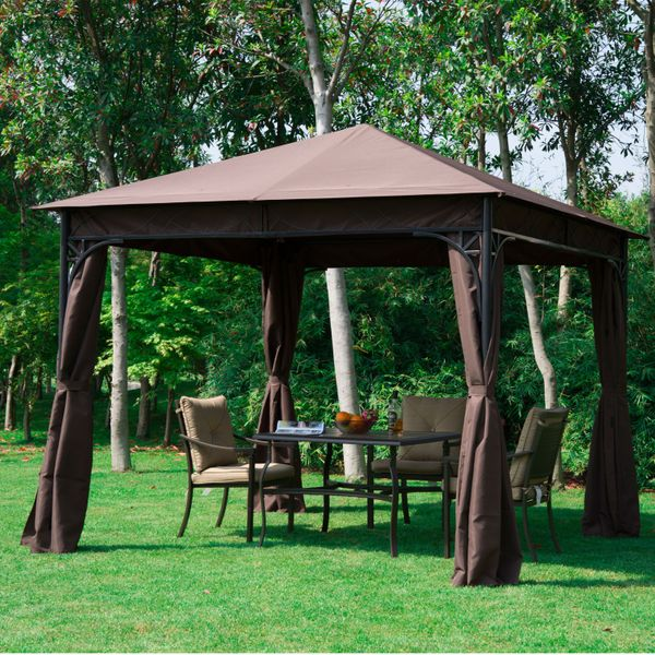 Outsunny 10'x10' Steel Garden Gazebo Shelter Patio Canopy Outdoor Event Party Tent Backyard Sun Shade with Curtain Coffee | Aosom Canada