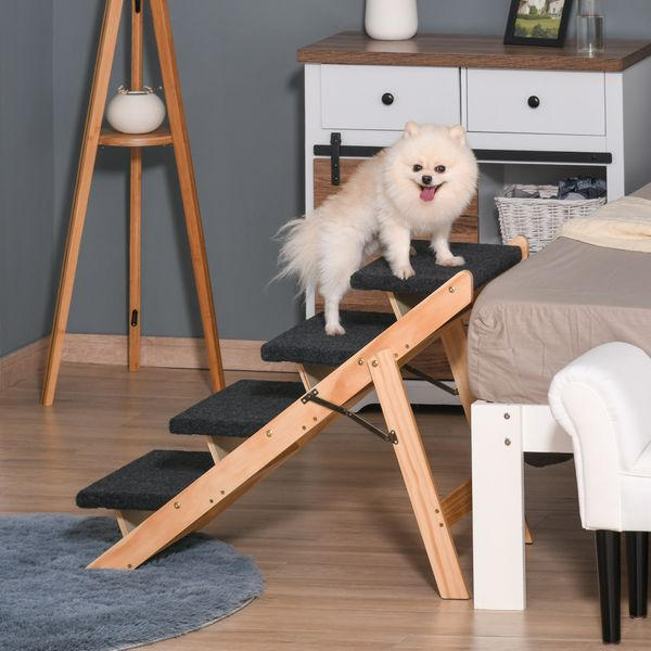 PawHut Wood Pet Stairs 2 In 1 Convertible Dog Steps and Carpeted Ramp Portable Foldable 4 Level Cat Ladder for High Bed Couch Car & | Aosom Canada