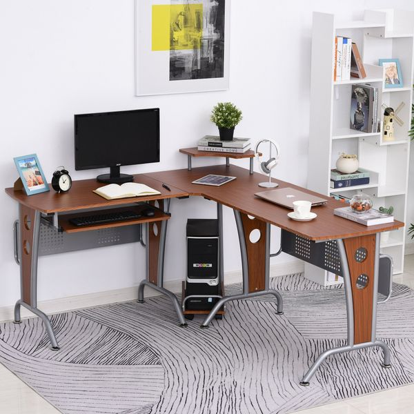 HOMCOM L-Shaped Corner Computer Office Desk PC Table Workstation E1 MDF with Keyboard Tray CPU Stand Brown Wood Grain | Aosom Canada