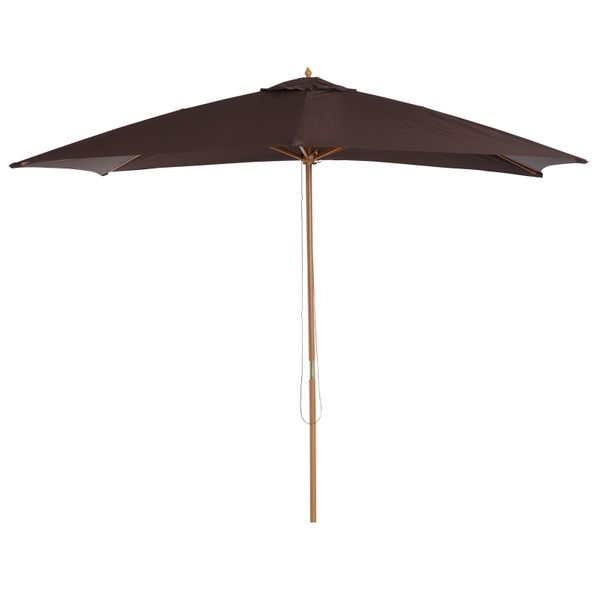Outsunny 7'x10'Wooden Rectangle Market Patio Sun Umbrella Garden Beach Parasol Outdoor Sunshade Gourd-shaped Top Canopy (Coffee) | Aosom Canada