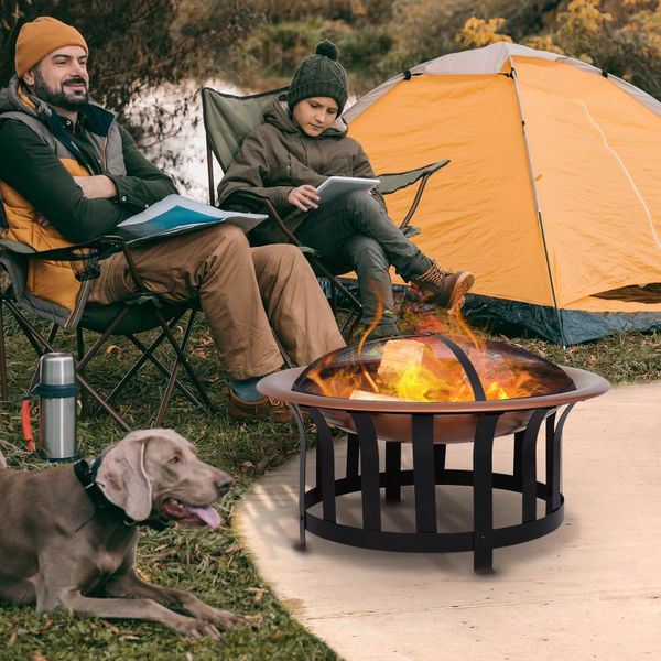 """Outsunny 30"""" Steel Round Outdoor Patio Fire Pit  Wood Log Burning Heater with Log Grate  Poker  Mesh Cover  Water Cover Firepit 