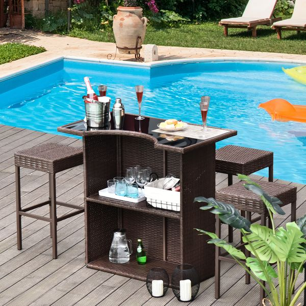 Outsunny 5pcs Dining Rattan Garden Bar Set Wicker Barstool and Table Outdoor Patio Furniture Dark Brown|Aosom Canada