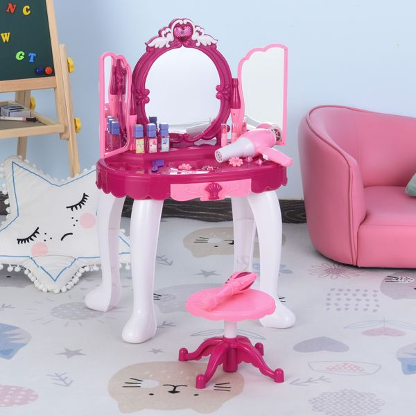 Qaba Children Dressing Table Set Girls Pretend Princess Vanity Table Chair with Music and Lightening Cosmetic Mirror Hair Dryer Nail Polish Necklace Bracelet For Light | Aosom Canada