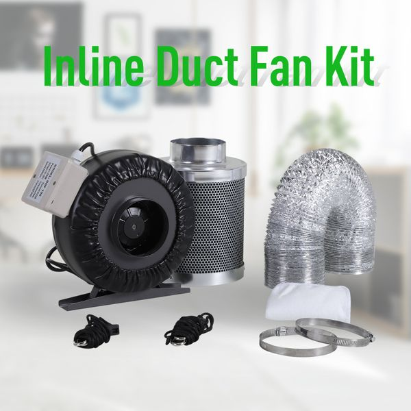 DURHAND 4 Inch Inline Fan Carbon Filter Duct Combo 2 Clamps Hydroponics Grow Room Tent Ventilation Kit | Aosom Canada