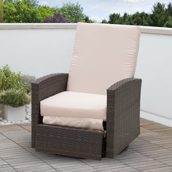 Outsunny Deluxe Swivel Rattan Wicker Sofa Chair Reclining Lounge Outdoor Patio Furniture with Cushion Rocking, Brown/Cream White|Aosom Canada