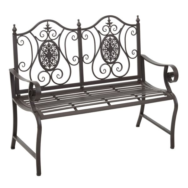 "Outsunny 47"" 2-Person Metal Garden Bench Outdoor Loveseat Yard Decorative Chair Park Seat Patio Furniture Brown