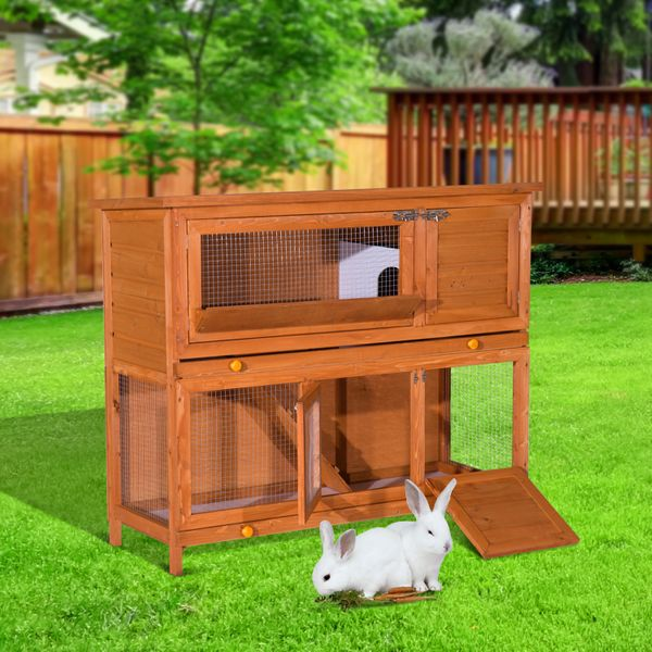 PawHut Wood Rabbit Hutch w/ Tray 2 Story Elevated Small Animal Cage Wooden Bunny House Chicken Coop Sliding-Out Poultry House|Aosom Canada