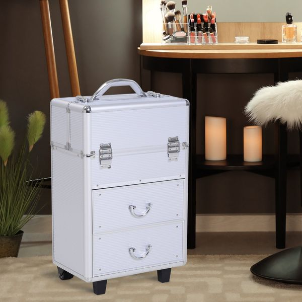 Soozier Rolling Makeup Case Salon Beauty Cosmetic Organizer Aluminum Professional Jewelry Storage Trolley with 2 Wheels Silver | Aosom Canada