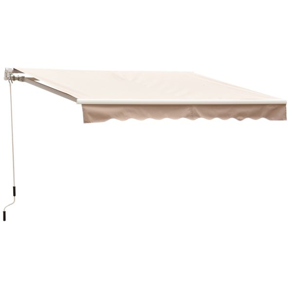 Outsunny 8'x7' Manual Retractable Waterproof Sun Shade Patio Awning Outdoor Deck Canopy Shelter Water-Resistant UV Protection Polyester Cream White | Aosom Canada