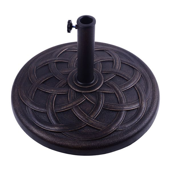 Outsunny 42lbs Resin Round Patio Outdoor Umbrella Stand Base Coated Pole Market, Bronze|Aosom.ca