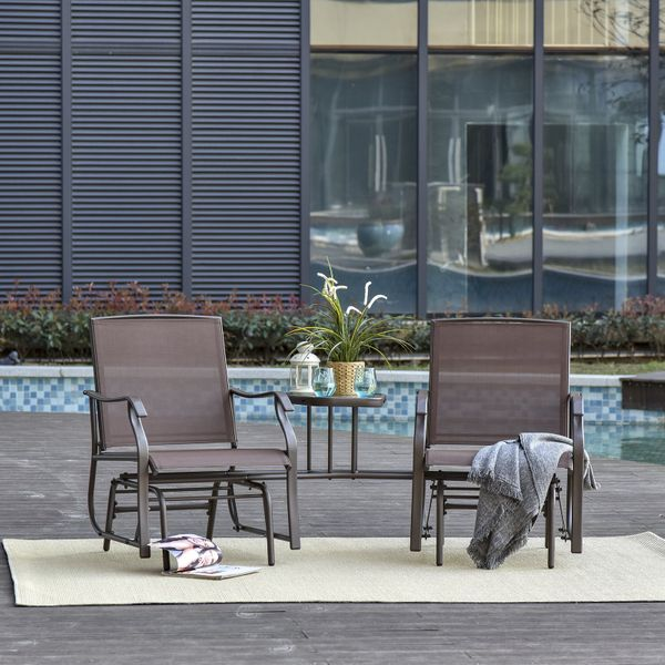 Outsunny Double Patio Glider With Tea Table  Ergonomically Designed  Breathes & Quick-dry