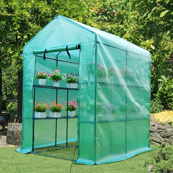 Outsunny Walk-in Plant Greenhouse 8 Shelves Green | Aosom Canada
