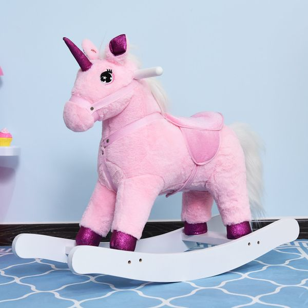Qaba Kids Soft huggable plush Toy Rocking Horse Unicorn with Realistic Sounds - Pink|Aosom Canada