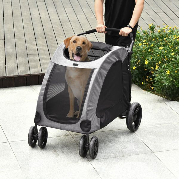PawHut Pet Stroller Universal Wheel with Storage Basket Ventilated Foldable Oxford Fabric for Medium or Large Size Dogs Grey | Aosom Canada