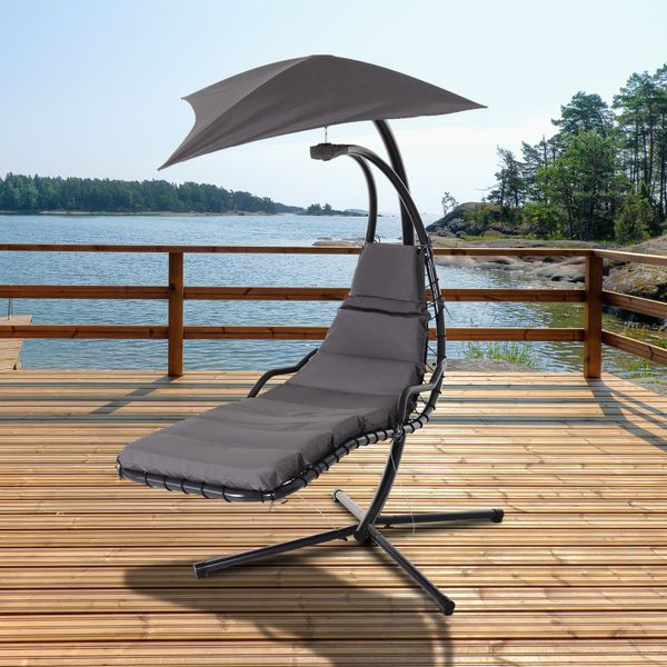 Outsunny Single Floating Chaise Lounge Porch Swing Hammock Hanging Chair   Aosom Canada