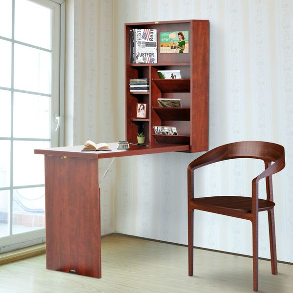 HOMCOM Wall-mounted Desk Fold-out Convertible Table Shelf Cabinet Workstation Office Furniture Mahogany|Aosom Canada
