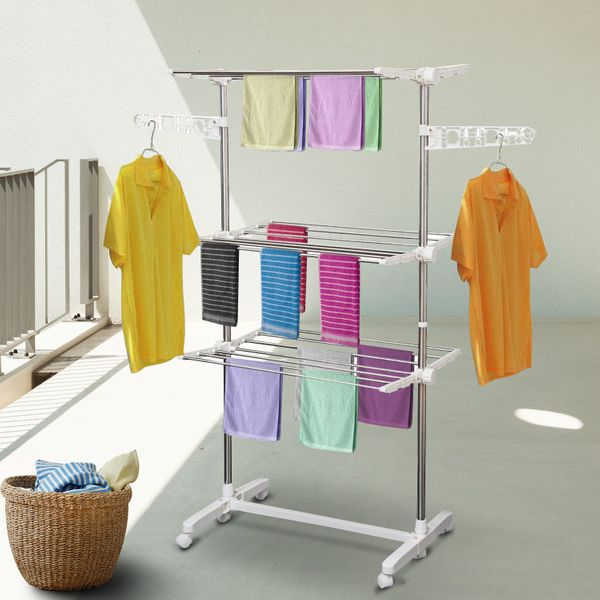 HOMCOM Foldable 3 Tier Clothes Drying Rack Indoor Outdoor|AOSOM.CA