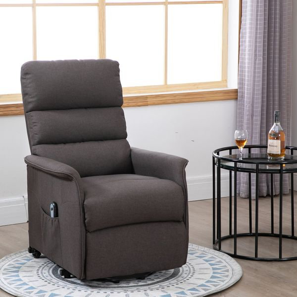 HOMCOM Electric Power Lift Chair and Recliner in Linen Fabric Living Room Bedroom Lounge with Remote Control and Wheels|AOSOM.CA