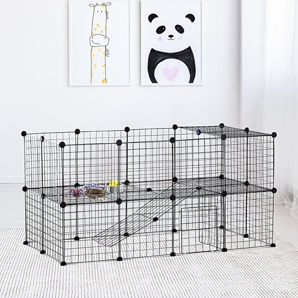 PawHut Metal Mesh 36 pcs Small Animal Playpen Panel Cage Outdoor Indoor with Mallet Connectors   Aosom Canada