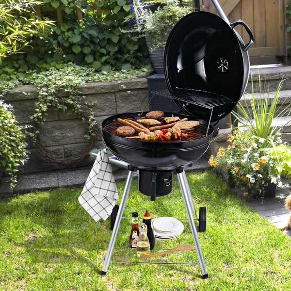 Outsunny Barbecue Picnic party Portable Kettle Charcoal Grill for Outdoor Grilling Heat Control BBQ | Aosom Canada