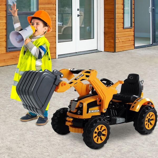 Aosom 6V Kids Electric Ride on Toy Excavator Construction Trunk with Digger Tractor Yellow | Aosom Canada