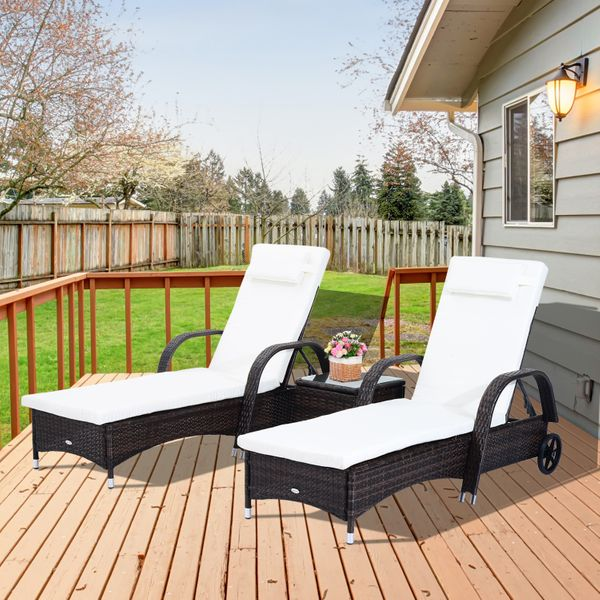 Outsunny 3pcs Patio Chaise LoungeWheeled Adjustable Patio Rattan Lounge Set Reclining Chaise Lounger Wicker Garden Recline Portable with Side Table Brown|Aosom Canada