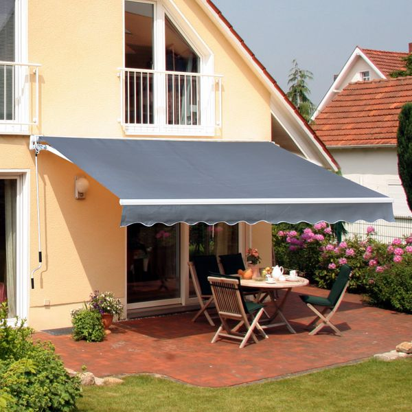 Outsunny 10'X8' Manual Retractable Patio Awning Grey AOSOM.CA