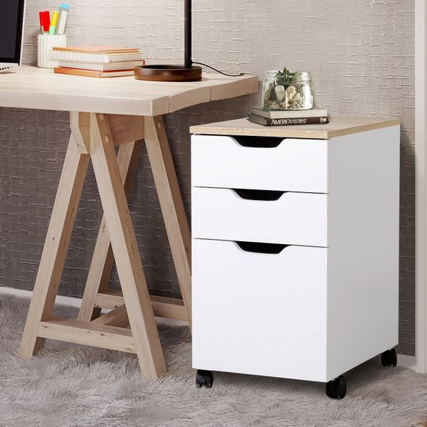 HOMCOM 3-Drawer Rolling File Cabinet with 2 Locking Casters, Convenient Storage Space Saving Design, White and Natural Wood|Aosom Canada