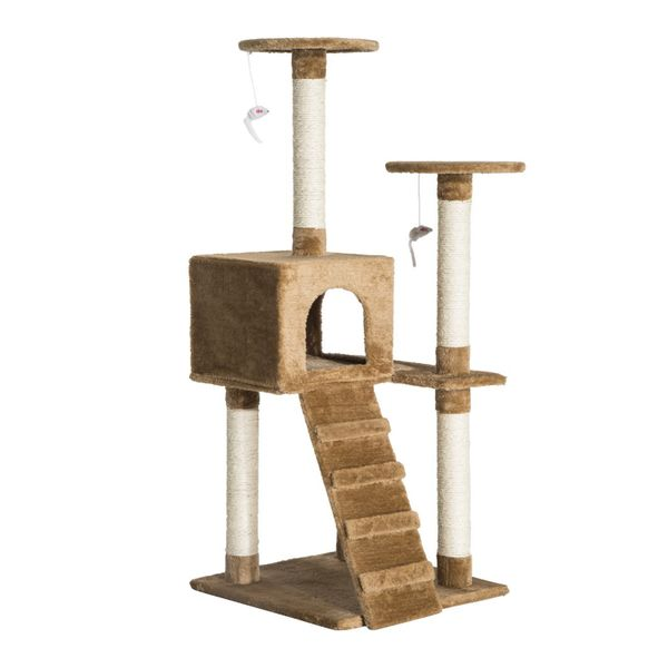 "PawHut D30-044 52"" Multi-Level Tower Cat Tree Condo Activity Furniture Kitty Scratching with Toy Dark Beige 