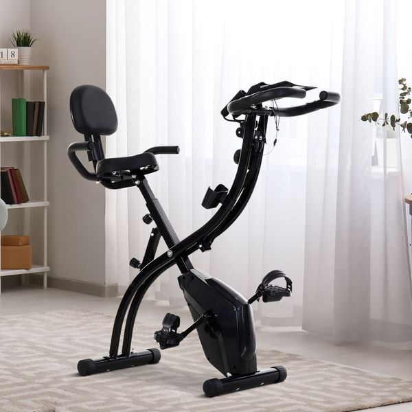 Soozier 2 in 1 Upright  Exercise Bike Stationary Foldable Magnetic Recumbent Cycling with Arm Resistance Bands