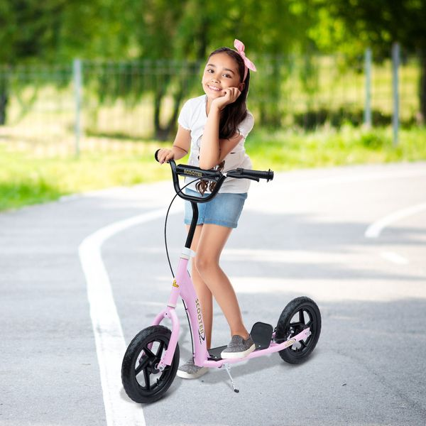 "Homcom Adjustable Kids Pro Stunt Scooter Children Street Bike Bicycle Ride On with 12"" Tire Pink