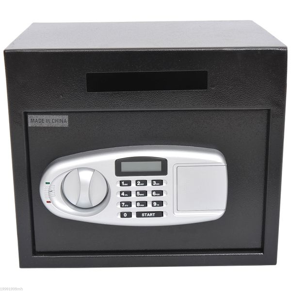 HOMCOM Wall Mounted Steel Electronic Digital Safe Box with Letter Drop Slot Keypad Lock Gun Cash Jewelry Home Security Black |Aosom Canada