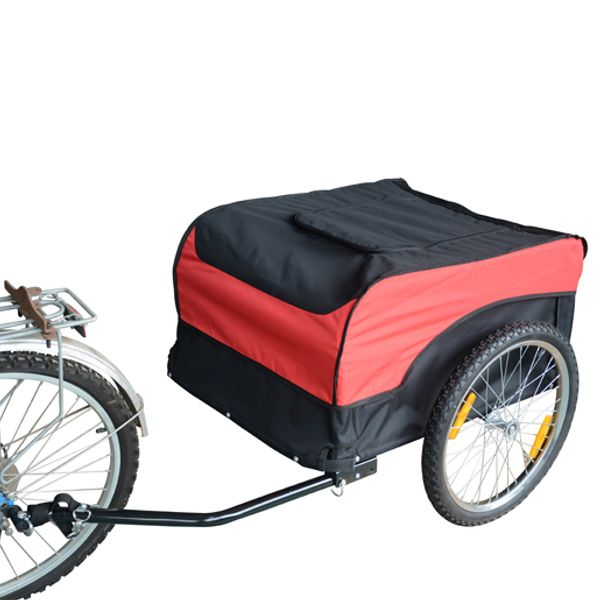 Aosom Cargo Bike Trailer with Cover Foldable Bicycle Luggage Carrier Cart For Garden Use Black Red|Aosom Canada