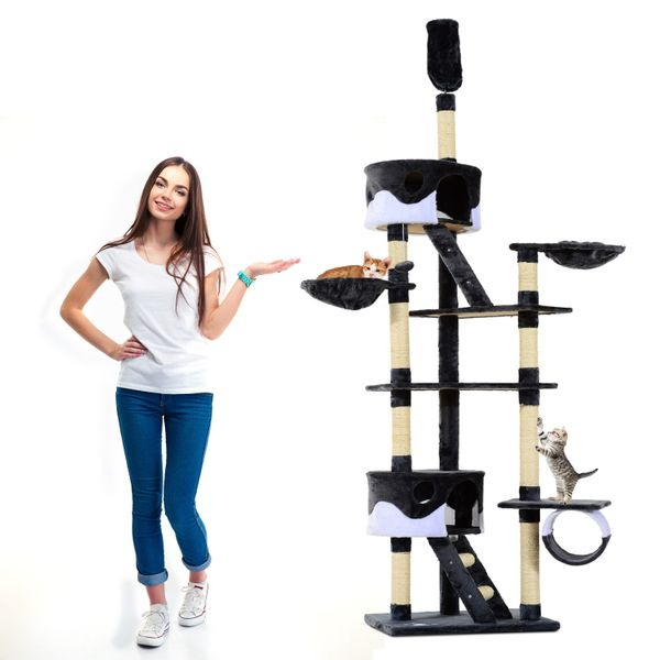 """PawHut 94""""-102"""" Huge Cat Tree Multilevel Playhouse Ceiling High Condo Scratching Post Activity Center Play House White Aosom Canada"""