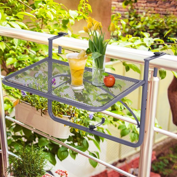 Outsunny Adjustable Balcony Hanging Rail Table Metal Mounting Mini Desk Storage Rack Outdoor Flower Stand Serving Table Drink Holder Rectangle BlackGrey Wall | Aosom Canada
