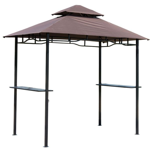 Outsunny 8'x5' BBQ Gazebo Tent Pavilion Grill Canopy Shade Coffee | Aosom Canada