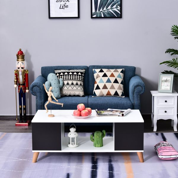 HOMCOM Scandinavian Style Modern Coffee Table Sofa Table with Open Compartment Living Room Furniture Black and White|Aosom Canada