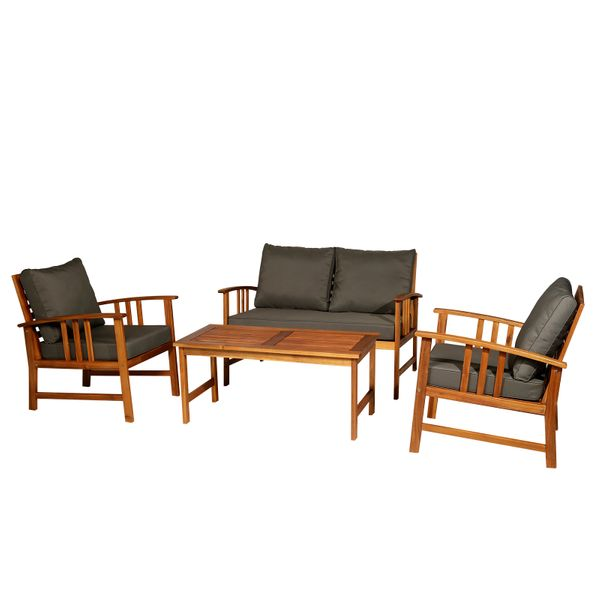 Outsunny 4pcs Acacia Wood Chat Set Patio Furniture w/ Cushions Patio Furniture w/ Cushions|AOSOM.CA