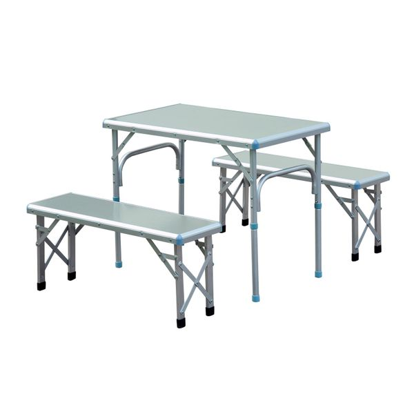Outsunny Aluminum Adjustable Outdoor Patio Folding Picnic Table Bench Set for Camping Party BBQ with 4 seats | Aosom Canada