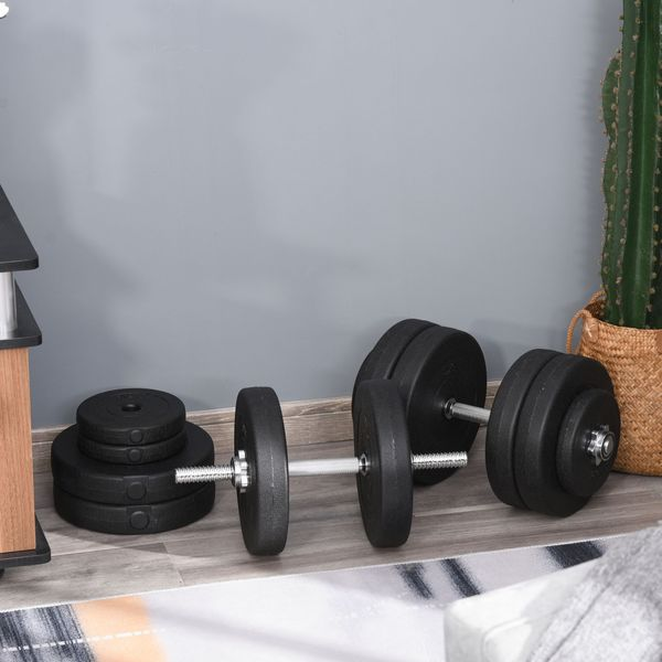 Soozier 110lbs Adjustable Dumbbell Set Weight Fitness Training Exercise - Black (pair)