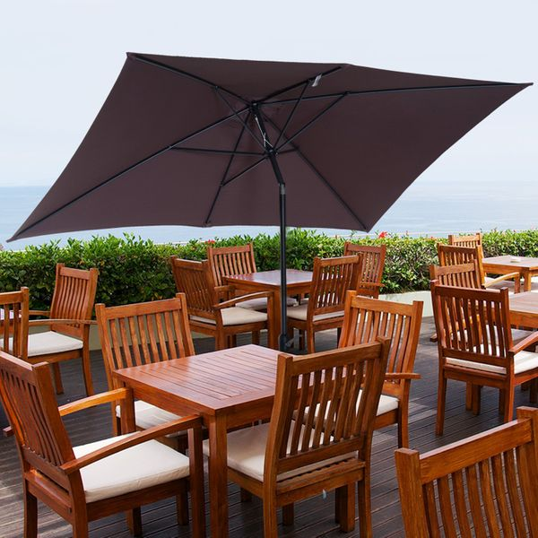 Outsunny 6.5x10ft Rectangle Aluminum Tilt Patio Umbrella Garden Market Parasol Outdoor with Crank Coffee|Aosom.ca