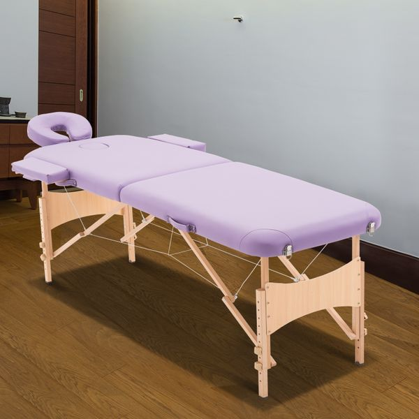 HOMCOM 72Inch 2 Section Adjustable Massage Table Portable Folding Spa Facial Couch Bed w/ Free Carry Case Purple | Aosom Canada