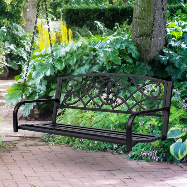 Outsunny Outdoor Steel Fleur-De-Lis Porch Swing Garden Hanging Bench Hanging Furniture 2-person Bench Seat Antique Style Lawn Patio w/ Chain|AOSOM.CA