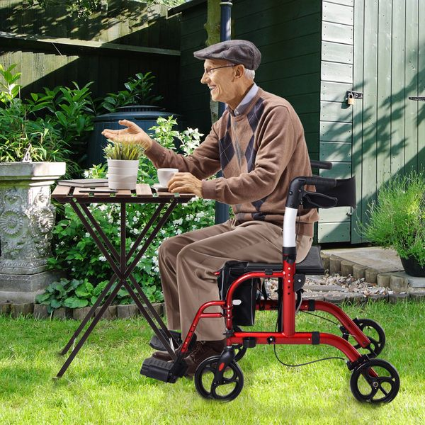 HOMCOM HOMCOM Aluminum Rollator For The Old Drive Medical W/ Bag 1-Step Open | Aosom Canada
