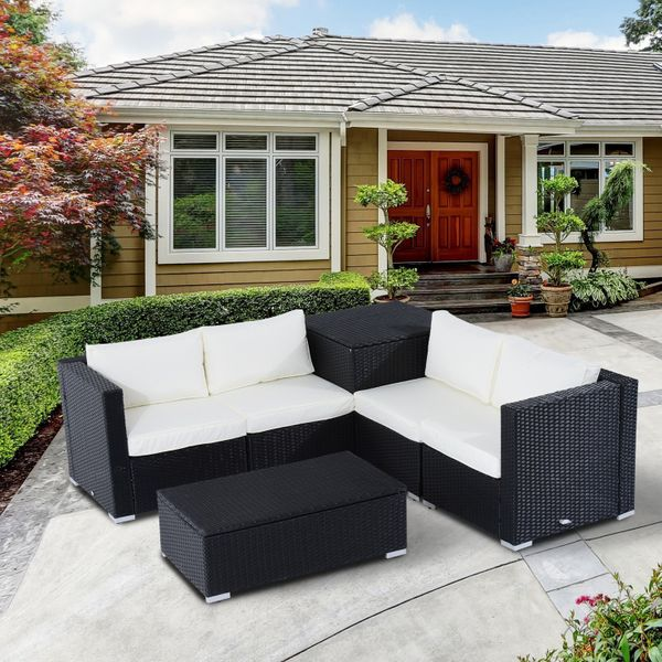 Outsunny 6pcs Rattan Wicker Set Deluxe Sofa Garden Sectional Furniture Storage w/Cushion Couch Side Table Coffee Table Black |Aosom Canada