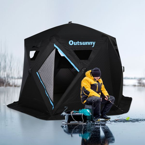 """Outsunny 116.25"""" Pop-up Ice Fishing Shelter Tent for 4-6 People -40℃ Portable w/ Carry Bag Zippered Door Ground Stakes Oxford Fabric   Aosom Canada"""
