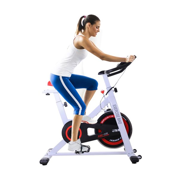 Soozier Indoor Cycling Bike with LCD Monitor Upright Exercise Adjustable Stationary Bicycle Trainer Home Gym Fitness Workout Cardio Training Equipment White | Aosom Canada