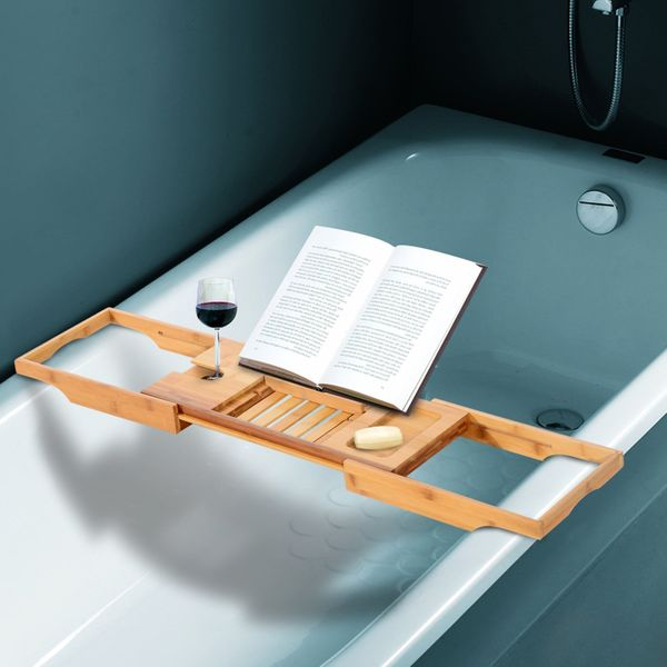 HOMCOM Extendable Natural Bamboo Bathtub Caddy Shower Bath Shelf Tray Holder Soap Book Rack Wine Organizer | Aosom Canada