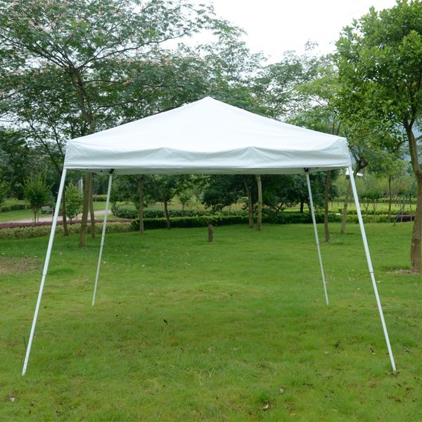 Outsunny BAG INCLUDED 10x10ft Easy Pop-up Canopy Wedding BBQ Party Tent Sunshade Shelter w/Slant Leg | Aosom Canada