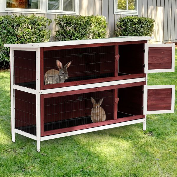 """PawHut 54""""x20""""x37"""" 2 Storage Large Elevated Wooden Rabbit Hutch Yard Bunny Cage w/ Run and Tray"""